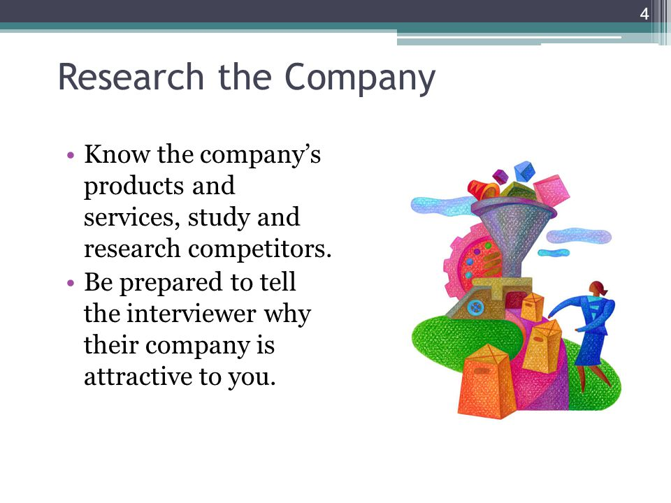 Research the Company Know the company's products and services, study and research competitors.