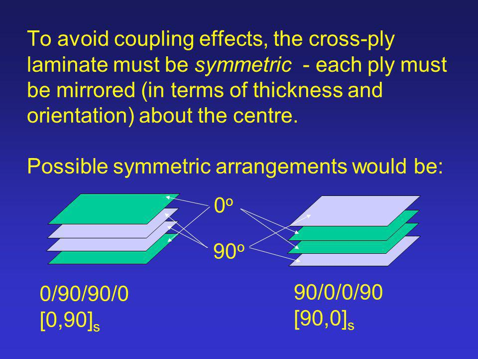 To avoid coupling effects, the cross-ply laminate must be symmetric - each ply must be mirrored (in terms of thickness and orientation) about the centre. Possible symmetric arrangements would be: