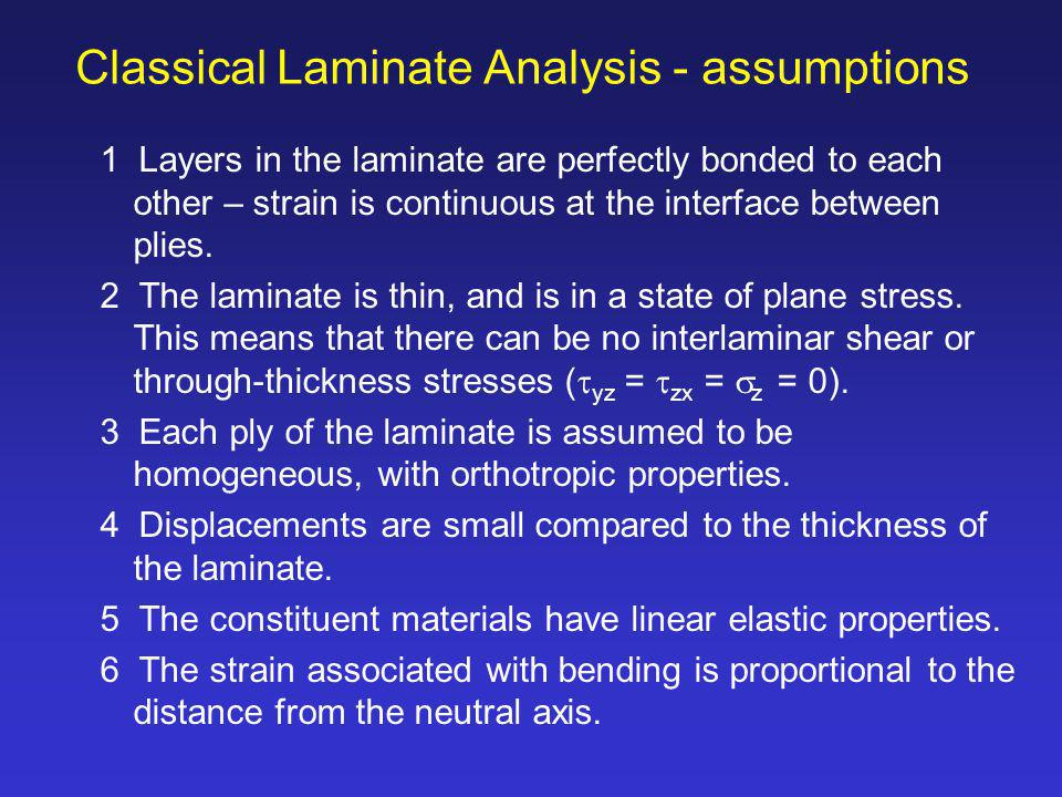 Classical Laminate Analysis - assumptions