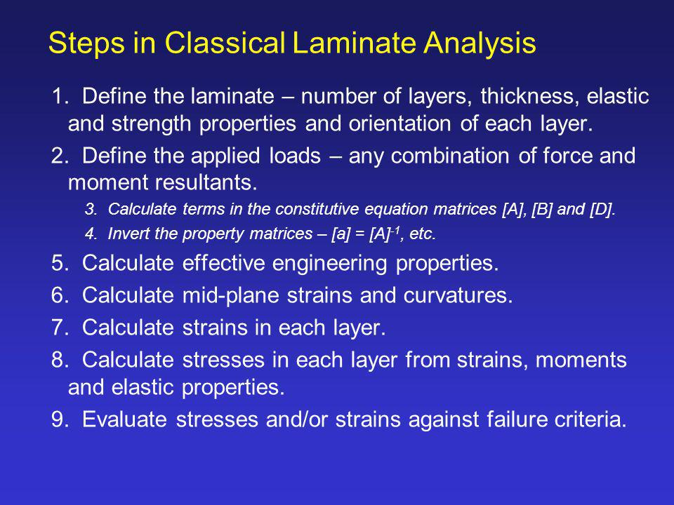 Steps in Classical Laminate Analysis