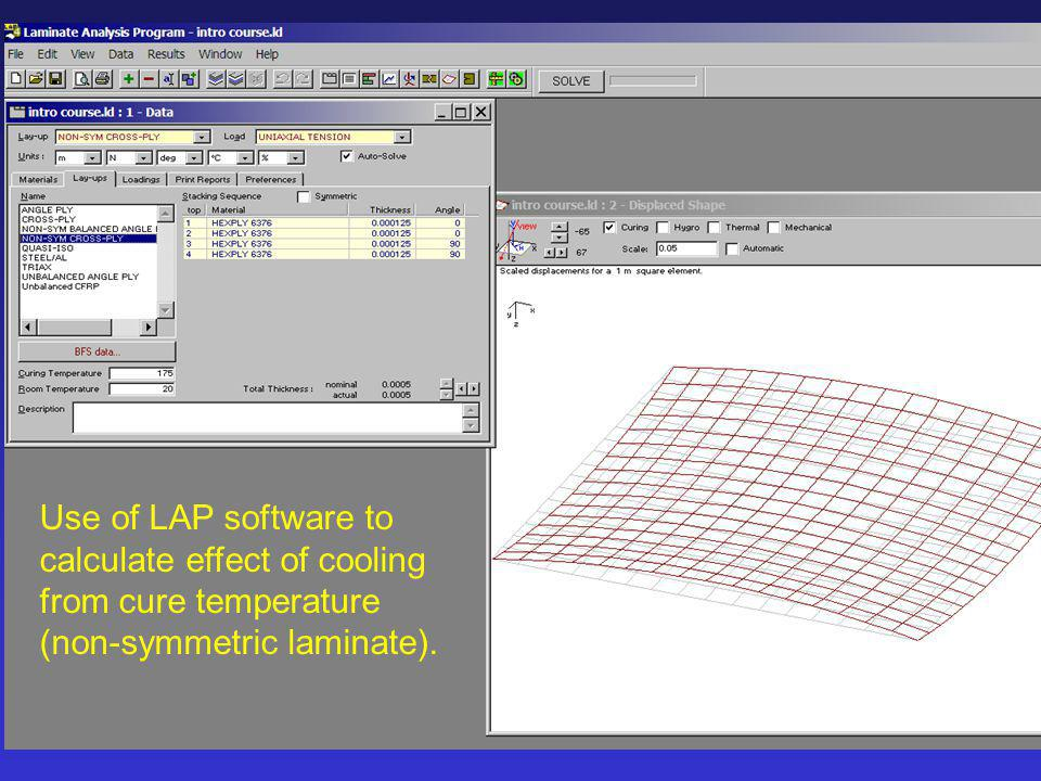 Use of LAP software to calculate effect of cooling from cure temperature (non-symmetric laminate).