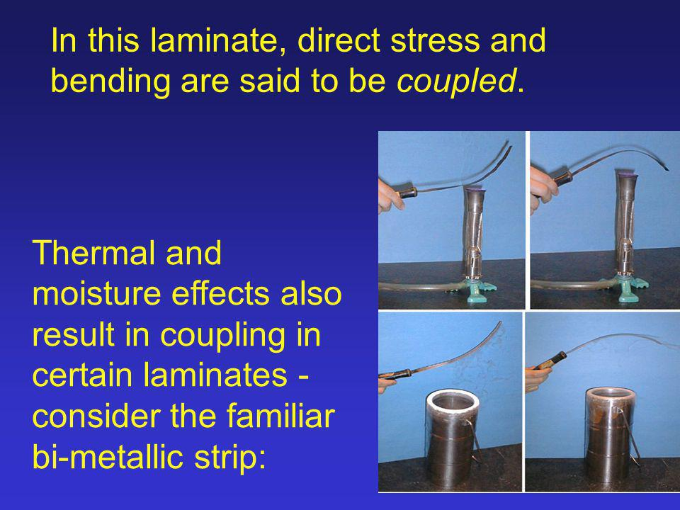 In this laminate, direct stress and bending are said to be coupled.