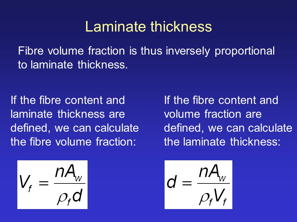 Laminate thickness Fibre volume fraction is thus inversely proportional to laminate thickness.