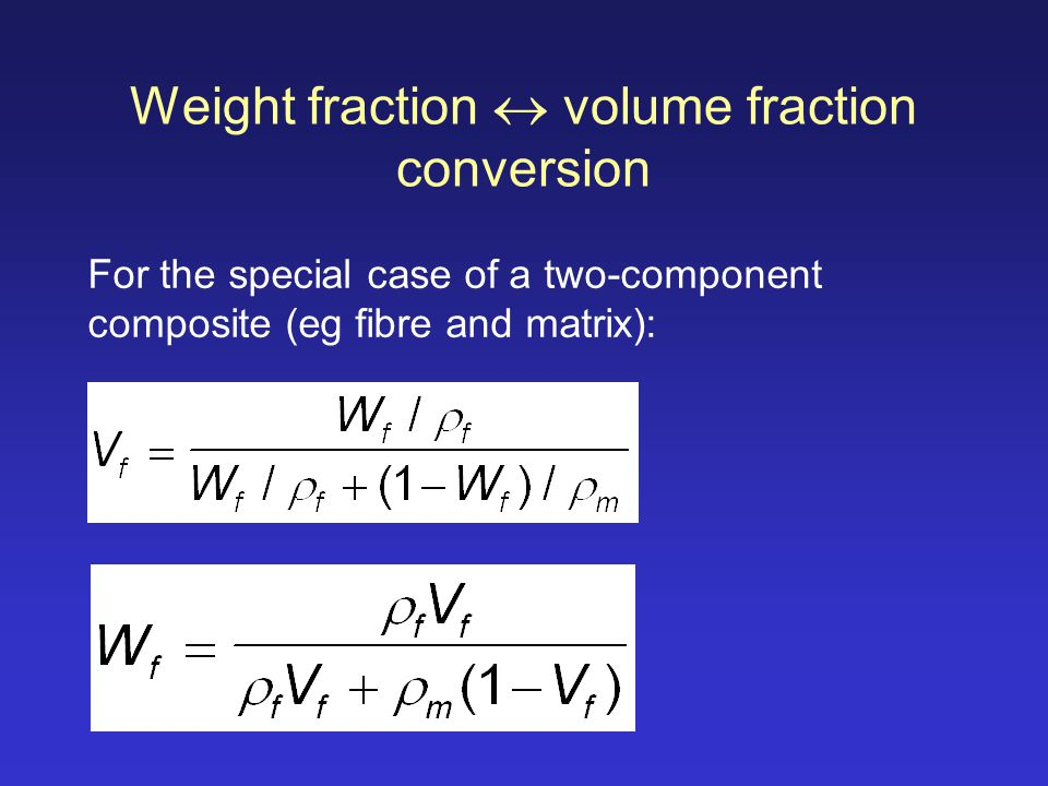 Weight fraction  volume fraction conversion
