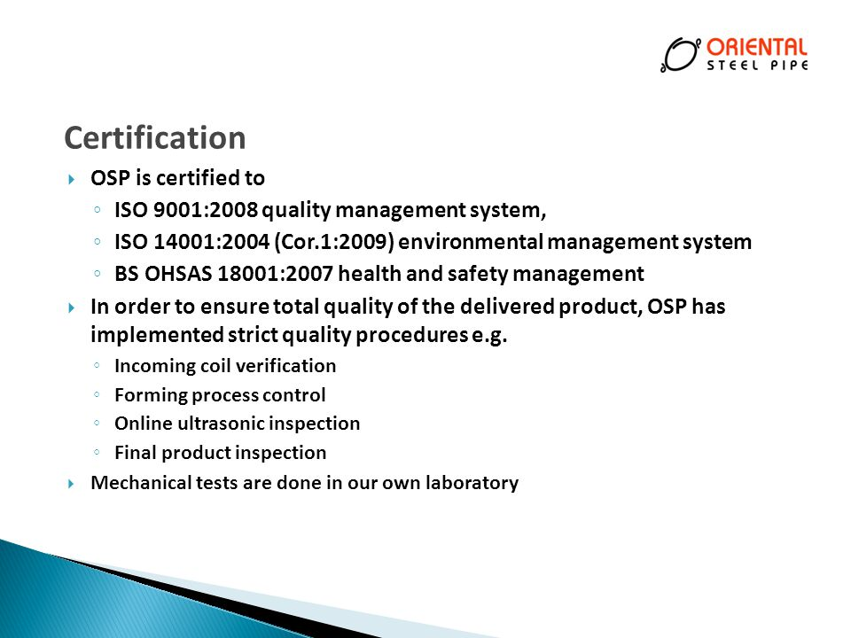 Certification OSP is certified to