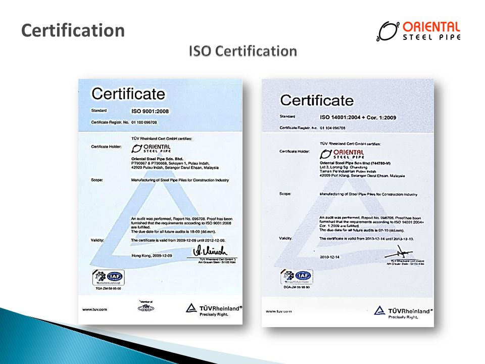 Certification ISO Certification