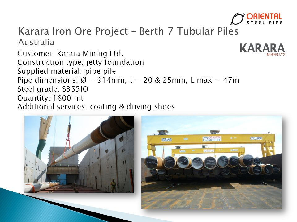 Karara Iron Ore Project – Berth 7 Tubular Piles
