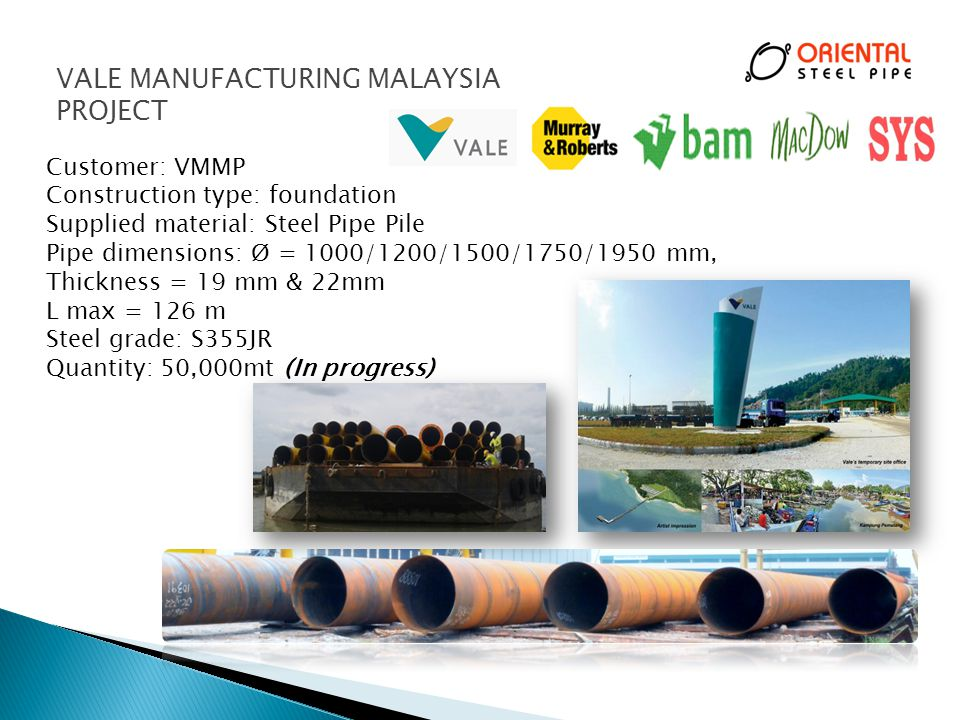 VALE MANUFACTURING MALAYSIA PROJECT
