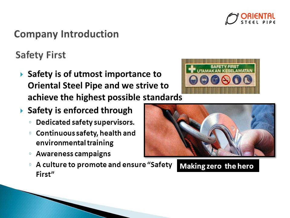 Company Introduction Safety First
