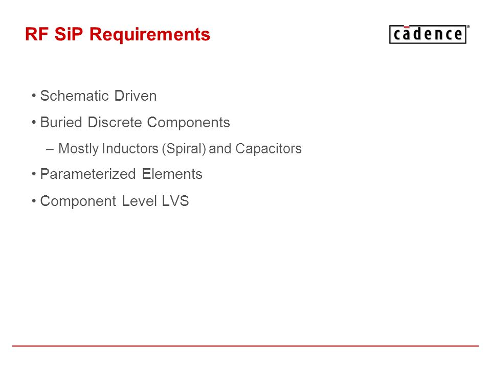 RF SiP Requirements Schematic Driven Buried Discrete Components