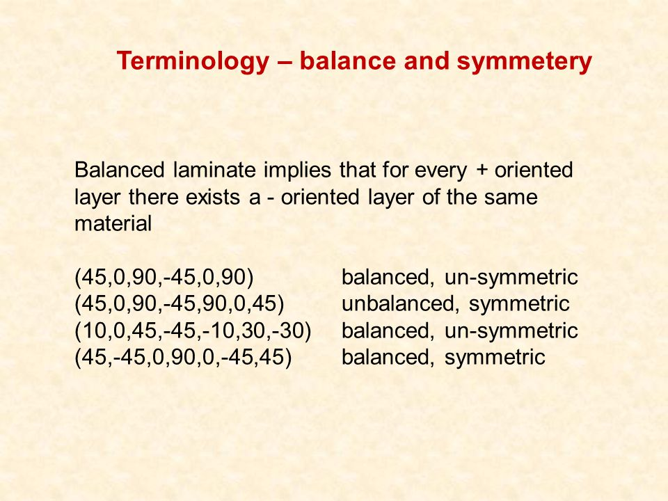 Terminology – balance and symmetery