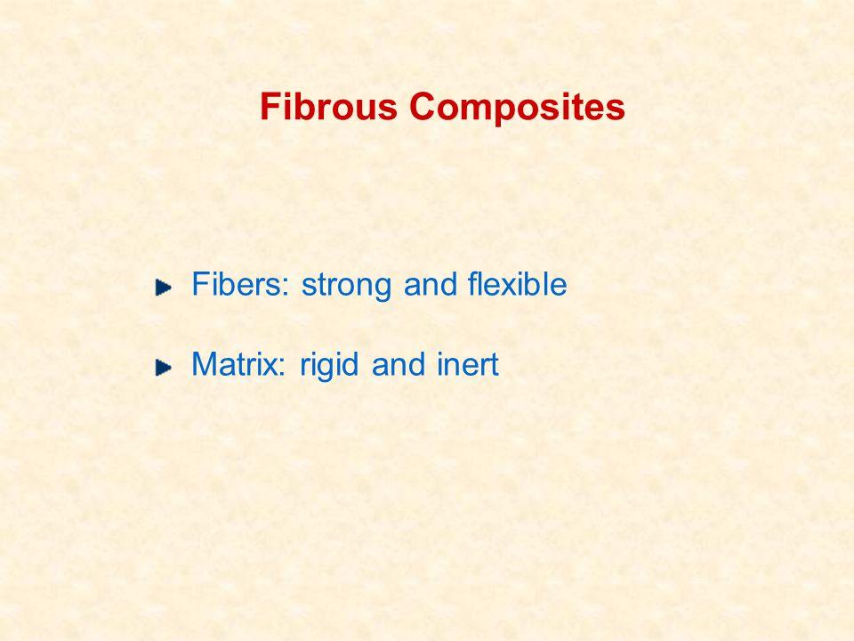 Fibrous Composites Fibers: strong and flexible Matrix: rigid and inert