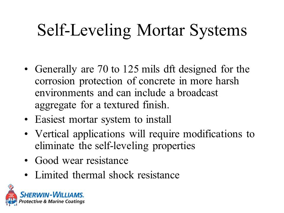 Self-Leveling Mortar Systems