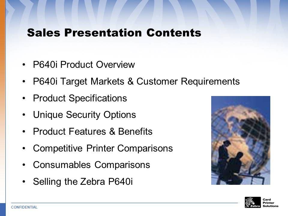 Sales Presentation Contents