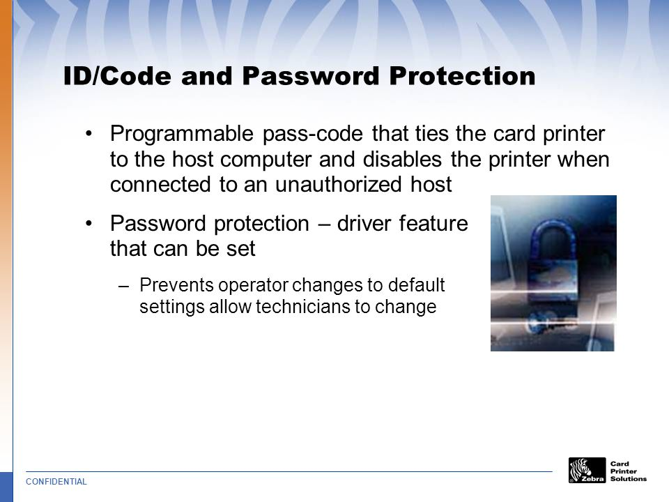 ID/Code and Password Protection