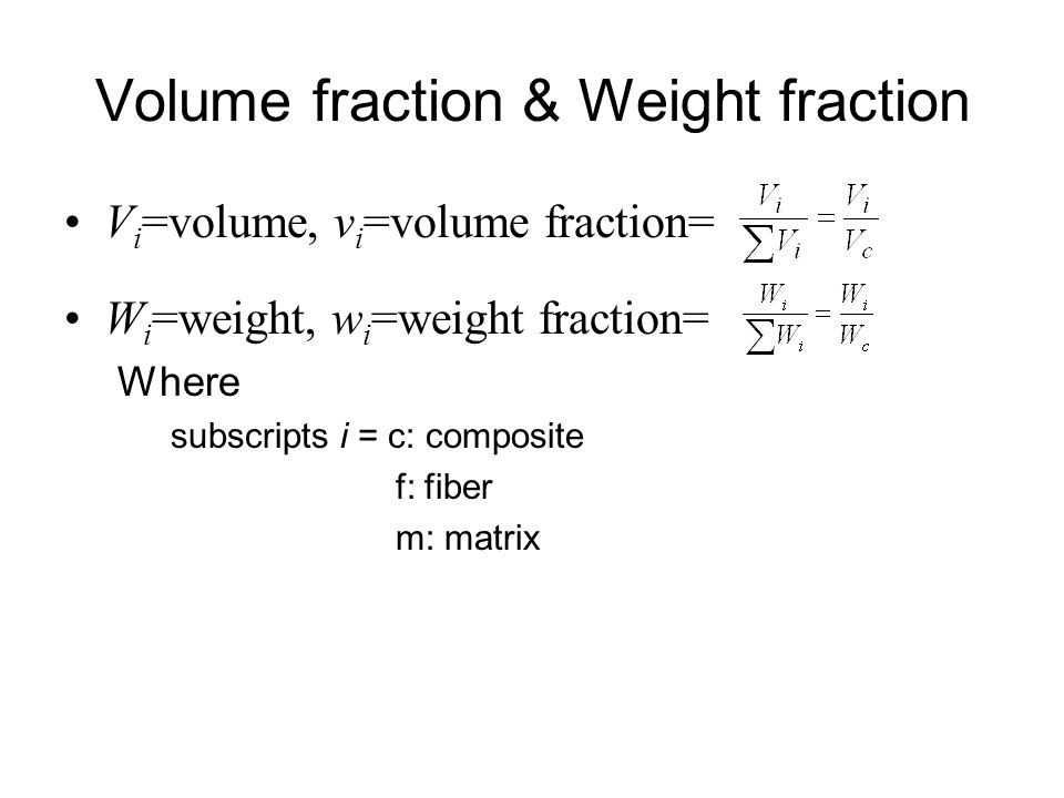 Volume fraction & Weight fraction