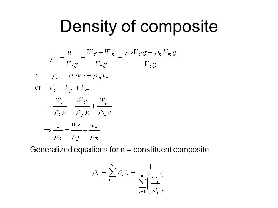Density of composite Generalized equations for n – constituent composite
