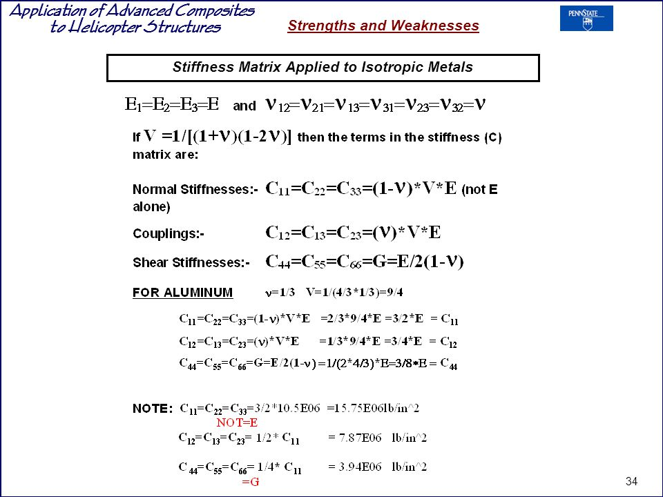 Stiffness Matrix Applied to Isotropic Metals