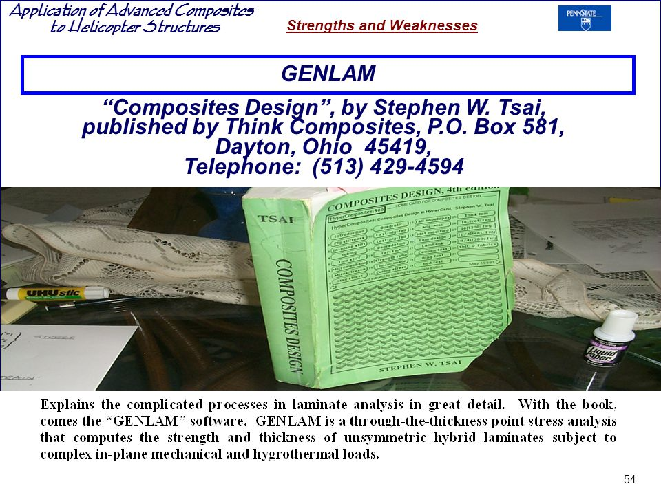 GENLAM Composites Design , by Stephen W. Tsai, published by Think Composites, P.O. Box 581, Dayton, Ohio 45419,