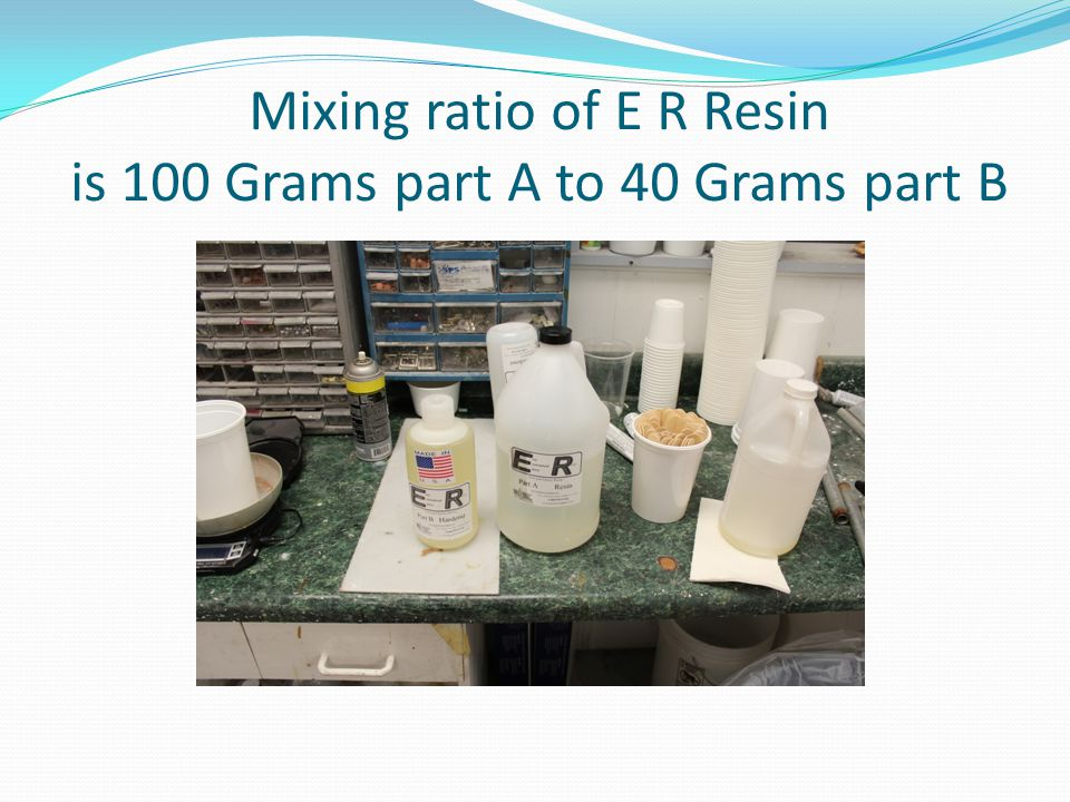 Mixing ratio of E R Resin is 100 Grams part A to 40 Grams part B