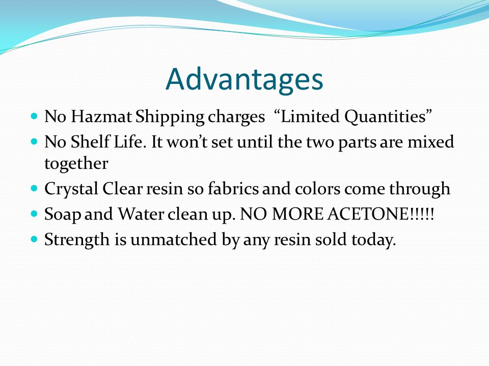 Advantages No Hazmat Shipping charges Limited Quantities