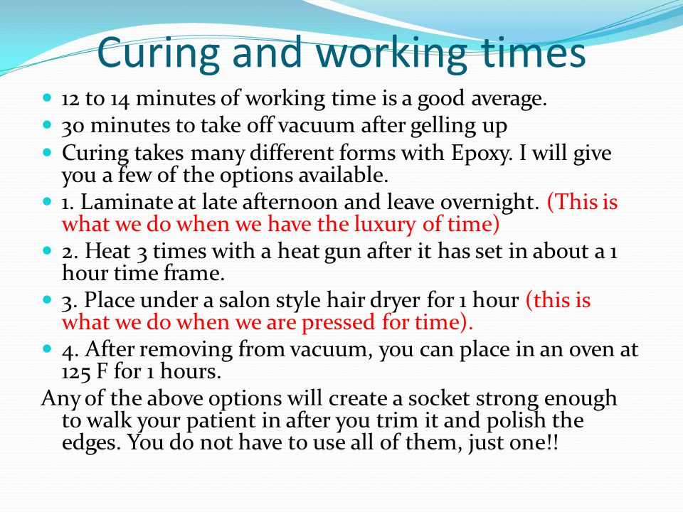 Curing and working times