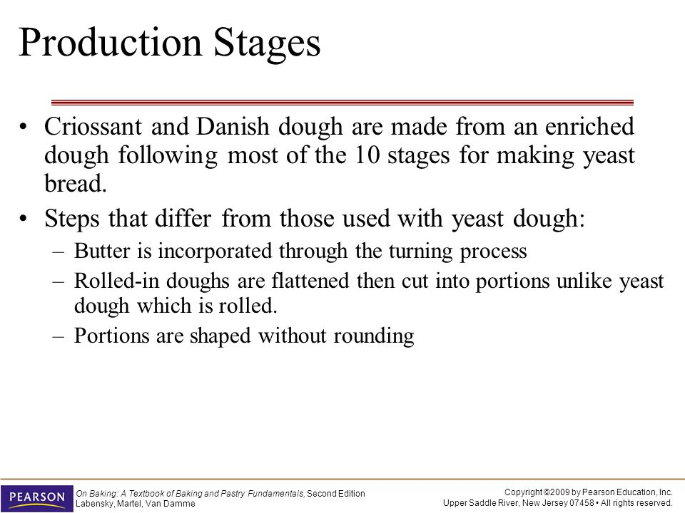 Production Stages Criossant and Danish dough are made from an enriched dough following most of the 10 stages for making yeast bread.