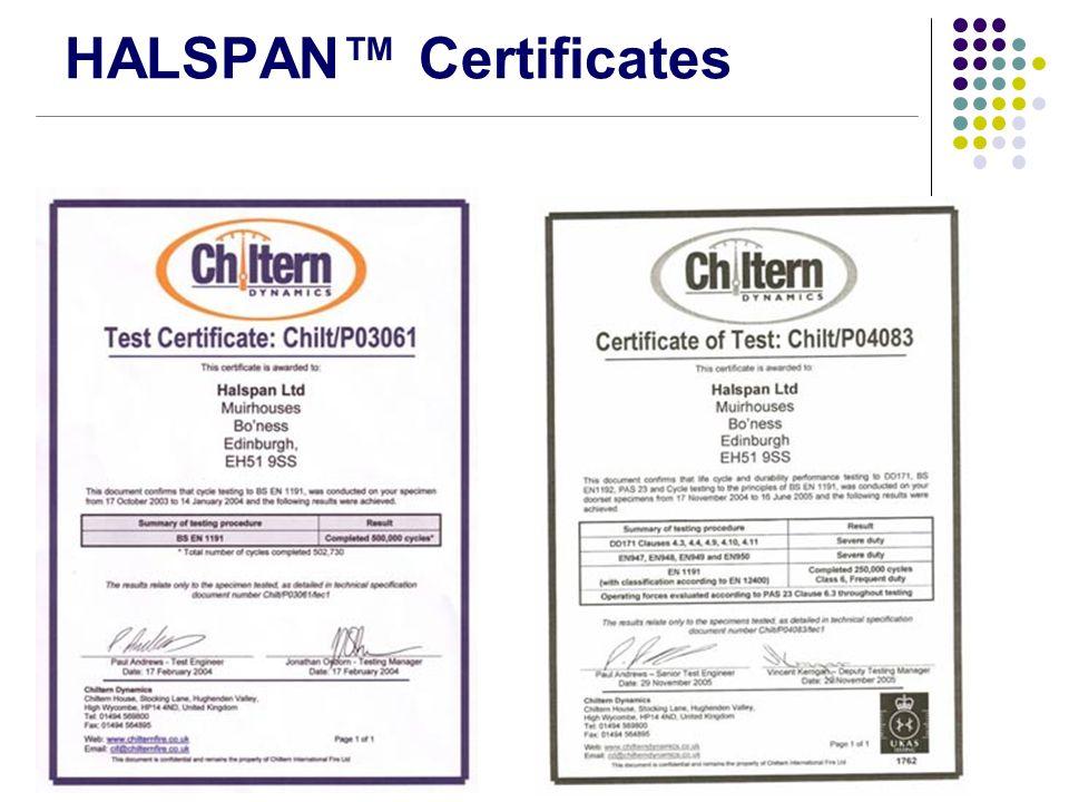 HALSPAN™ Certificates