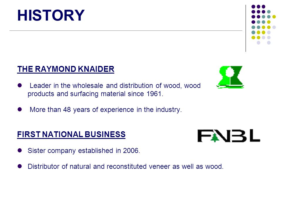 HISTORY THE RAYMOND KNAIDER FIRST NATIONAL BUSINESS