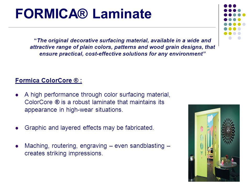 FORMICA® Laminate Formica ColorCore ® :
