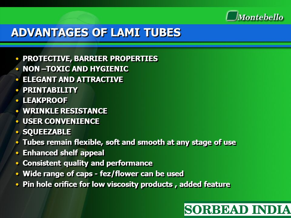 ADVANTAGES OF LAMI TUBES