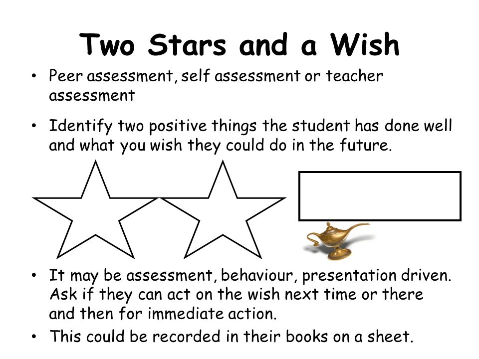 Two Stars and a Wish Peer assessment, self assessment or teacher assessment.