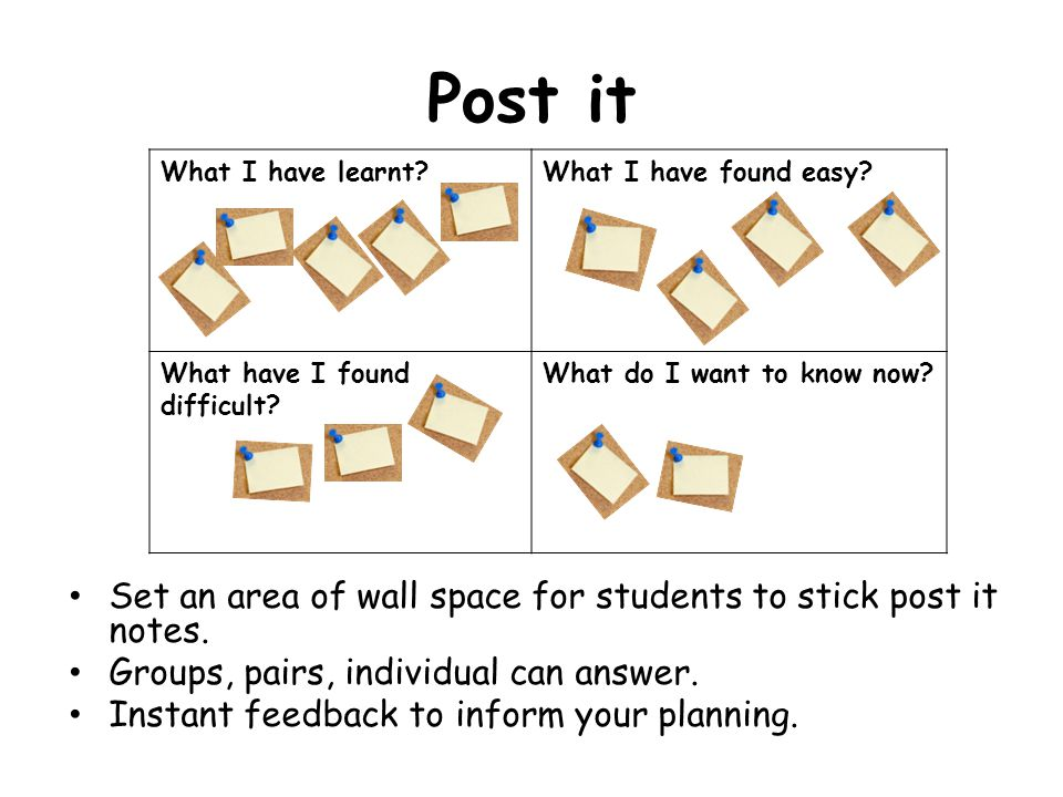 Post it Set an area of wall space for students to stick post it notes.