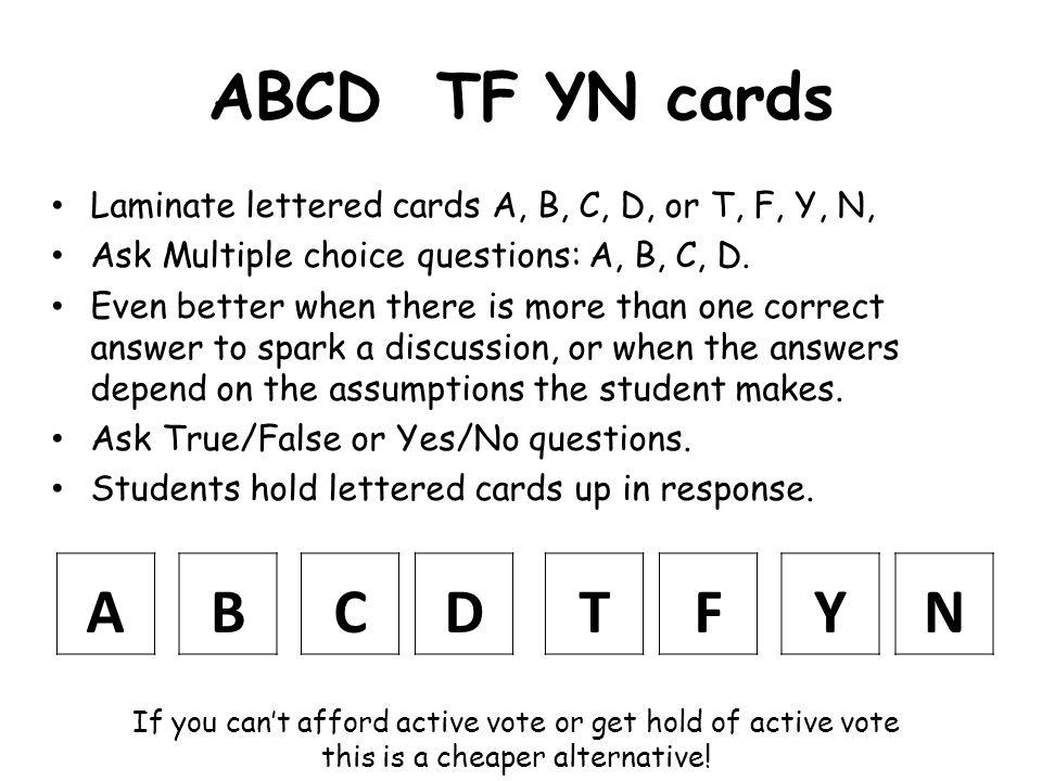 ABCD TF YN cards A B C D T F Y N
