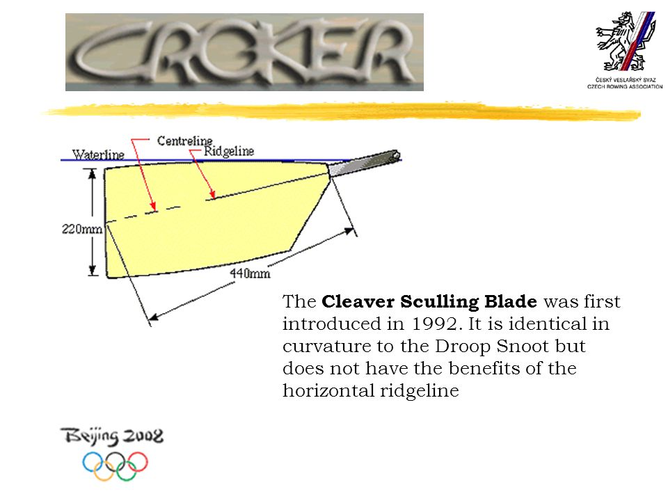 The Cleaver Sculling Blade was first introduced in 1992