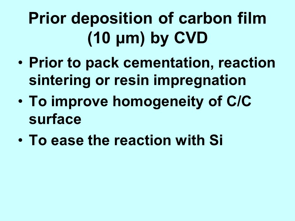 Prior deposition of carbon film (10 μm) by CVD