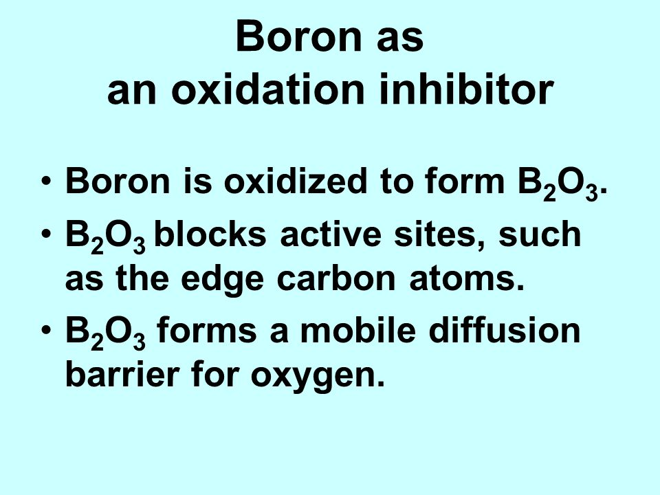 Boron as an oxidation inhibitor