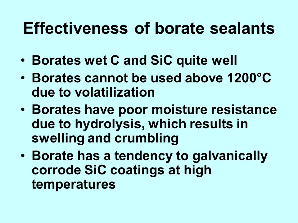 Effectiveness of borate sealants