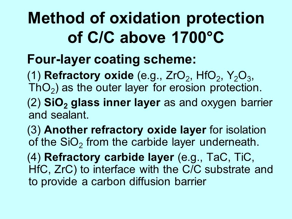 Method of oxidation protection of C/C above 1700°C
