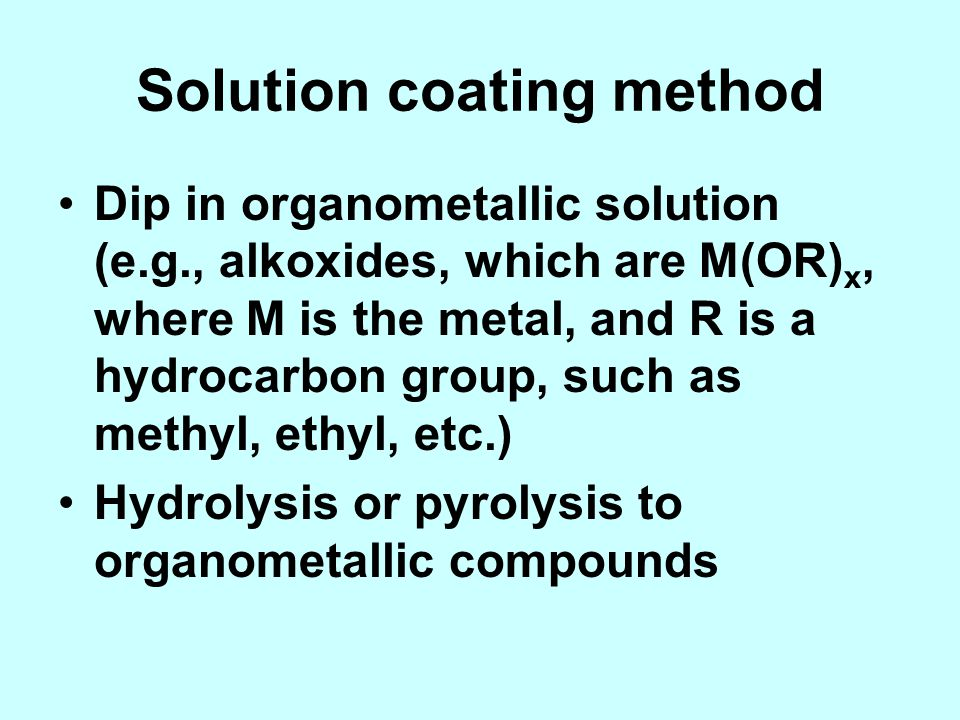 Solution coating method