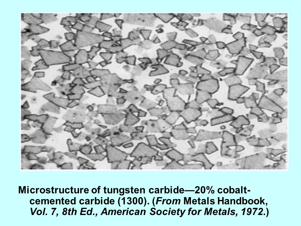 Microstructure of tungsten carbide—20% cobalt-cemented carbide (1300)