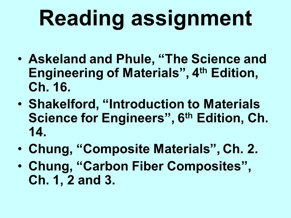 Reading assignment Askeland and Phule, The Science and Engineering of Materials , 4th Edition, Ch. 16.