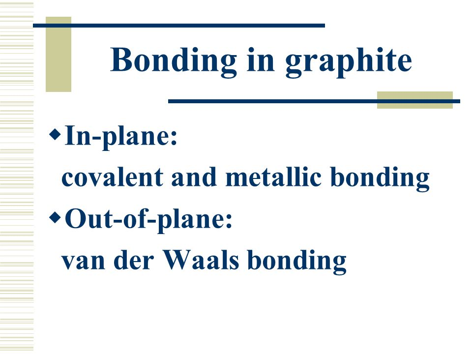 Bonding in graphite In-plane: covalent and metallic bonding