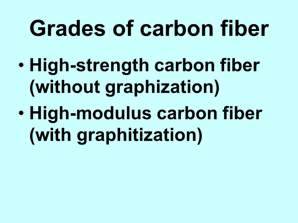 Grades of carbon fiber High-strength carbon fiber (without graphization) High-modulus carbon fiber (with graphitization)