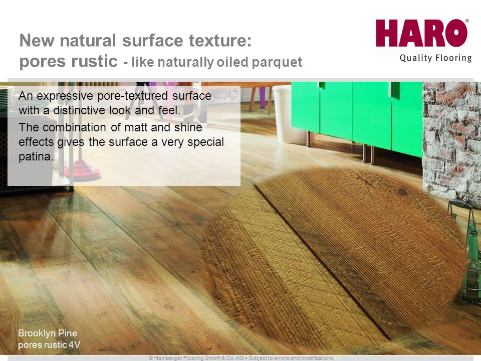 New natural surface texture: pores rustic - like naturally oiled parquet