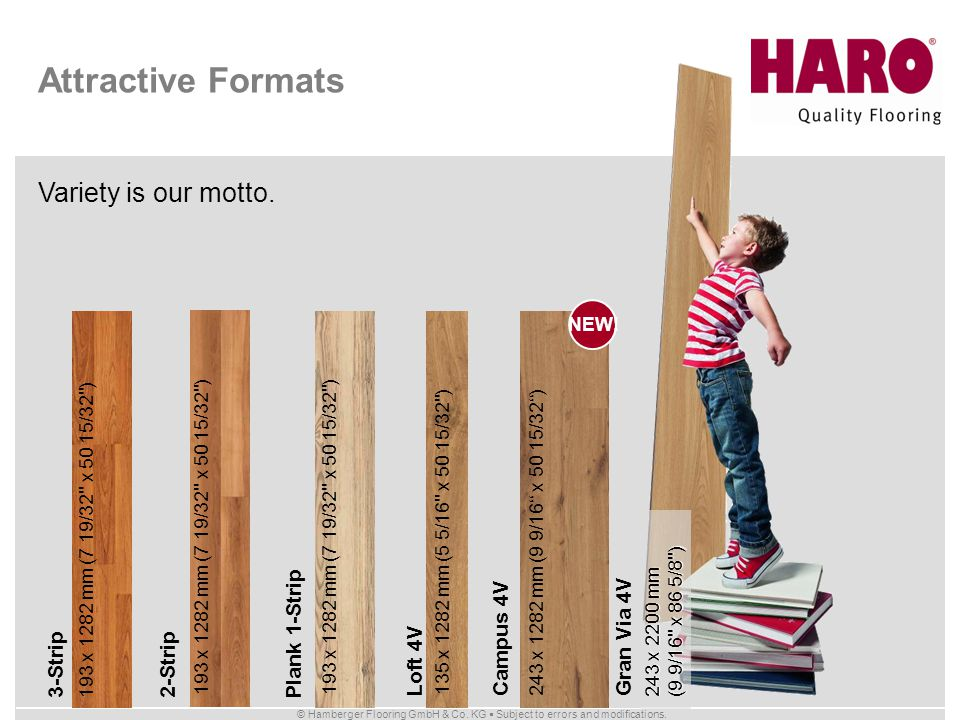 Attractive Formats Variety is our motto. Gran Via 4V Plank 1-Strip