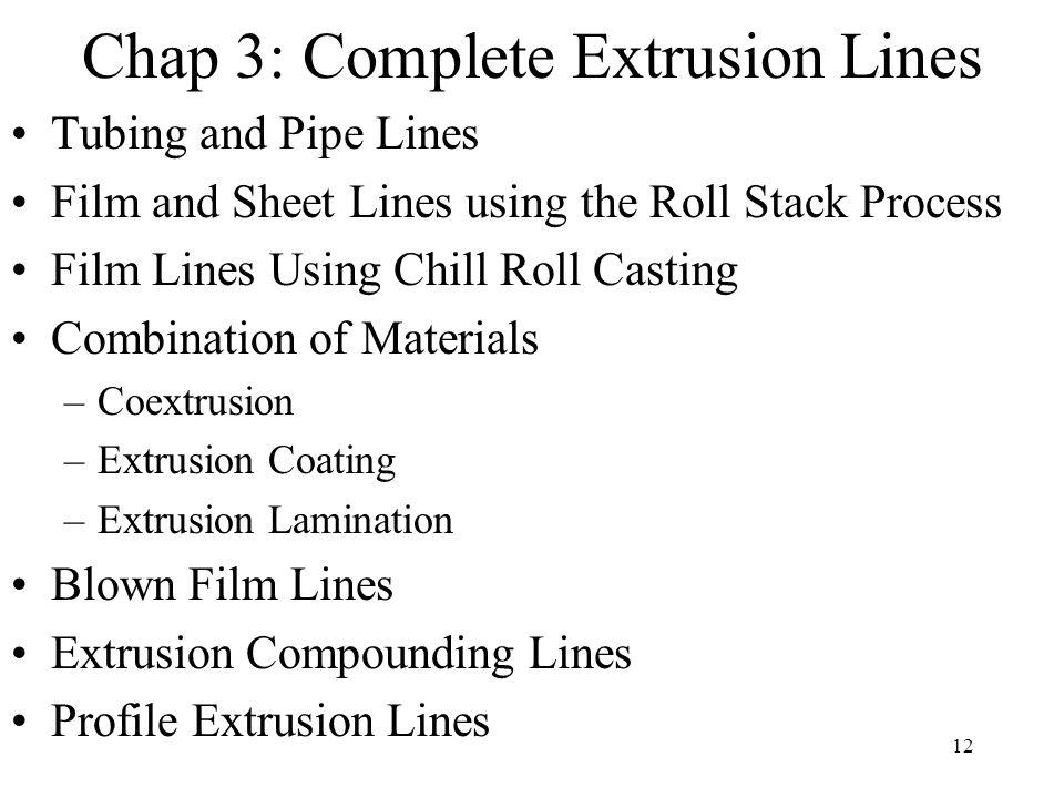 Chap 3: Complete Extrusion Lines