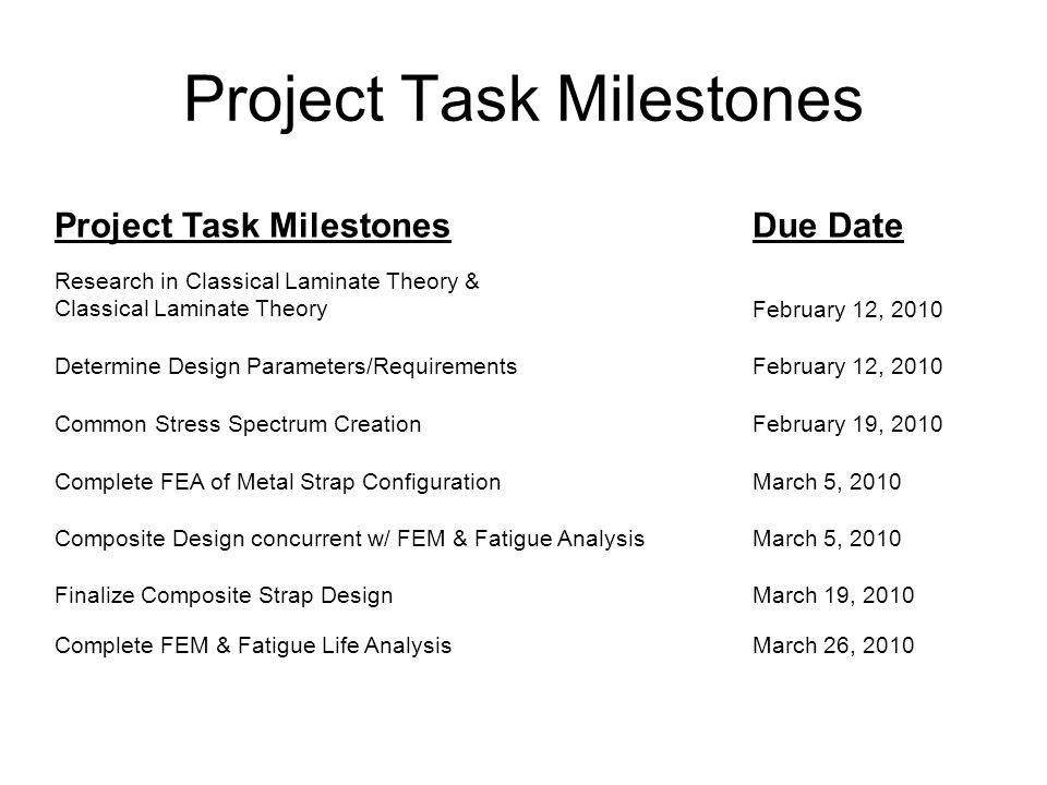 Project Task Milestones