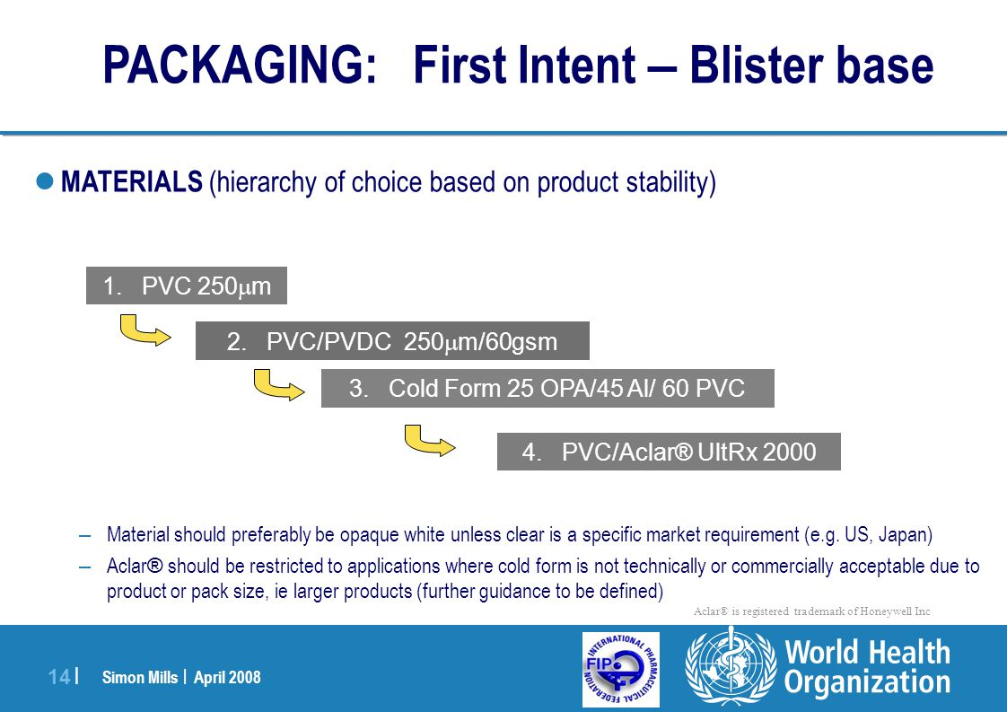 PACKAGING: First Intent – Blister base