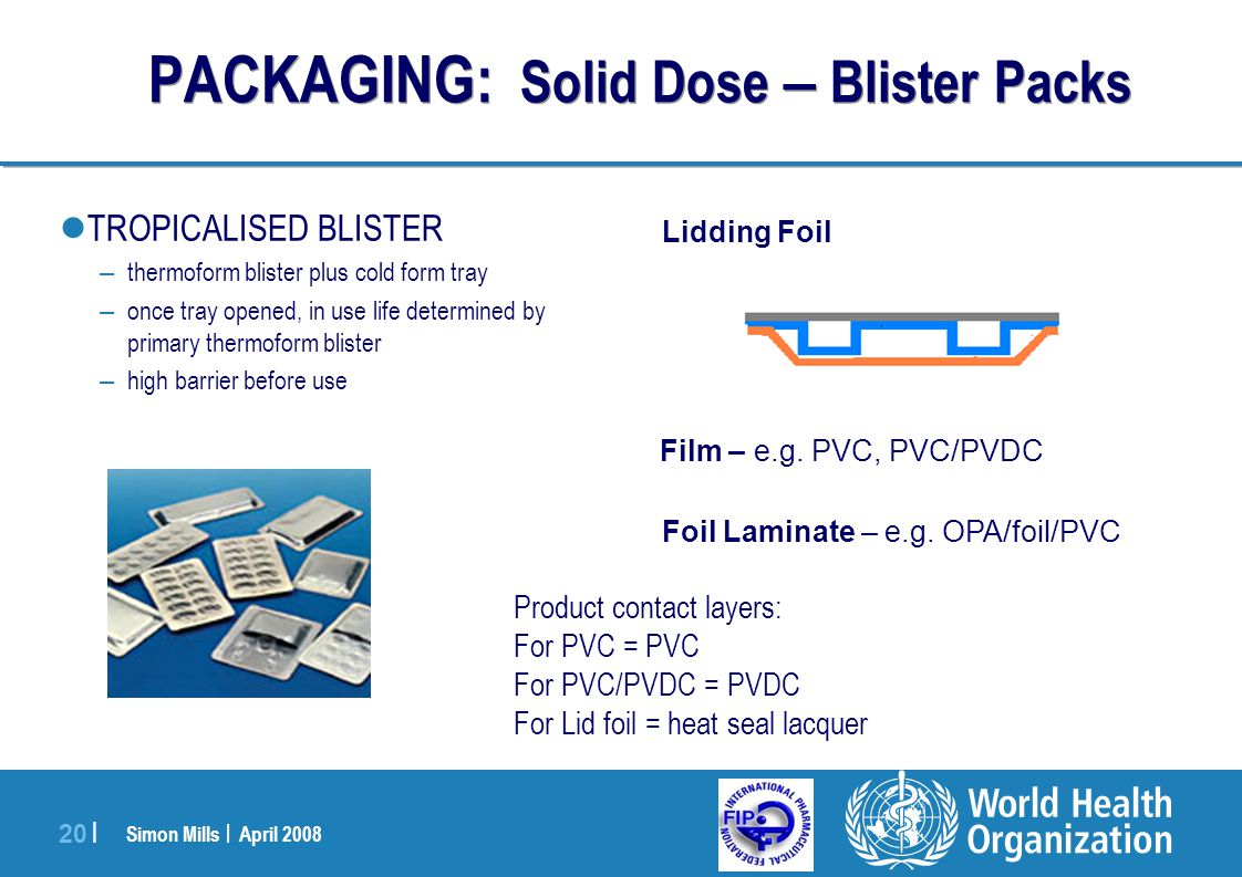 PACKAGING: Solid Dose – Blister Packs